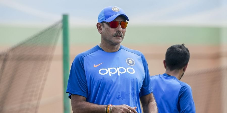 India cricket coach Ravi Shastri attends a net batting session. (Photo | PTI)