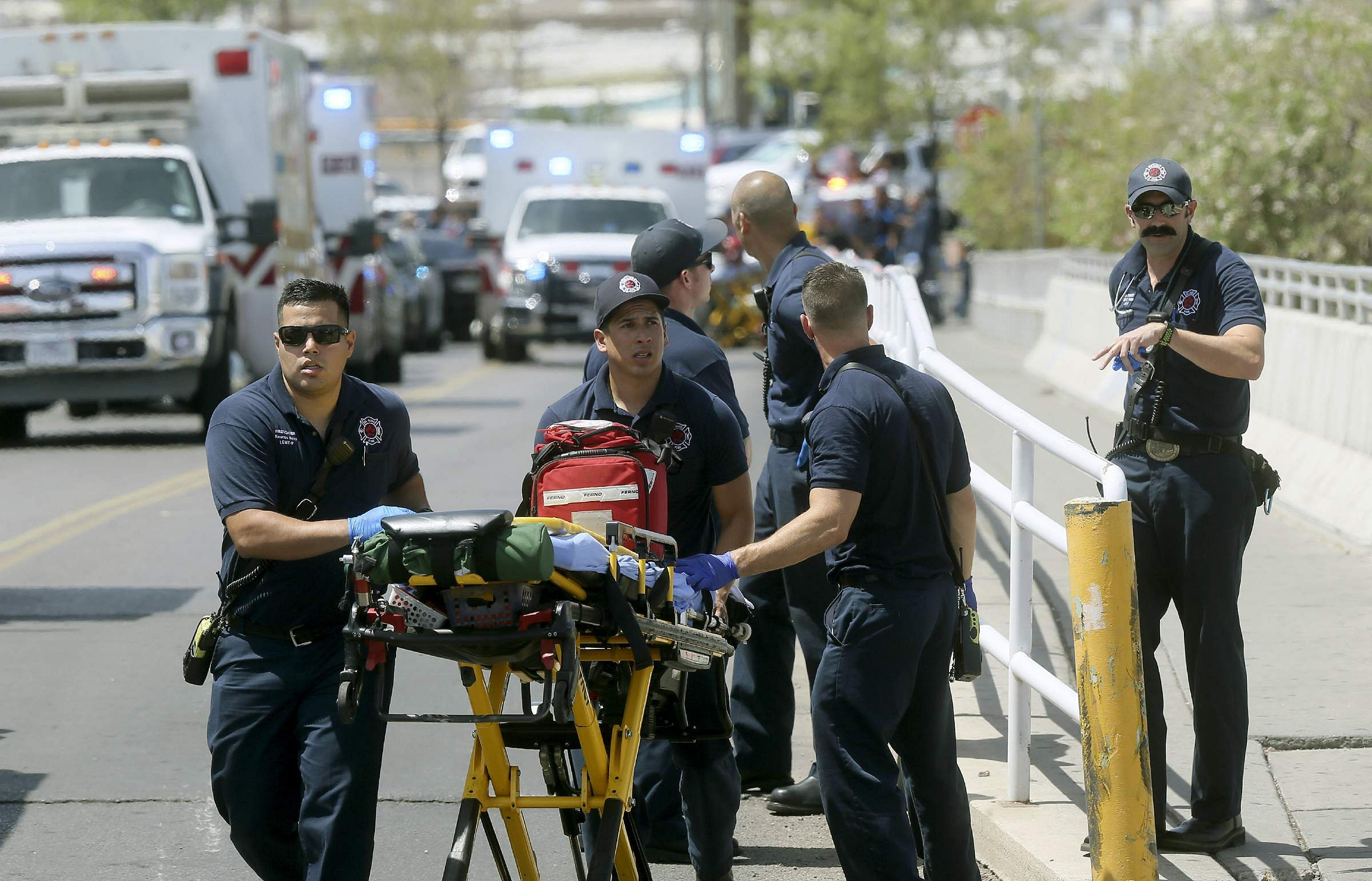 El Paso Fire Medical personnel arrive at the scene of a shooting at a Walmart near the Cielo Vista Mall in Texas.
