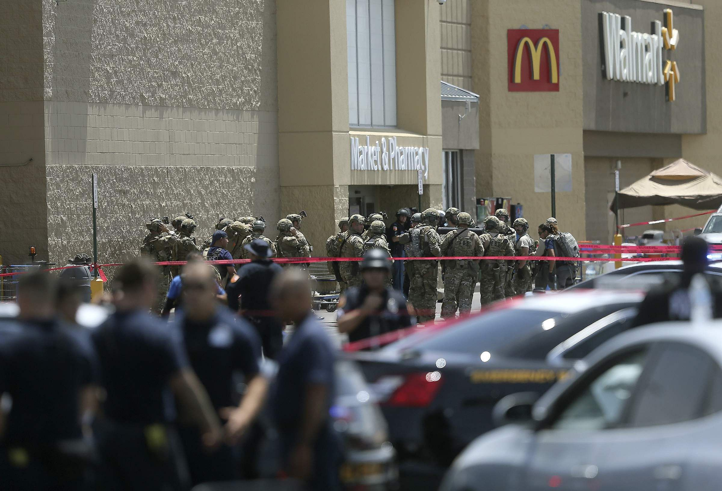 Several law enforcement agencies respond to an active shooter Saturday at a Walmart in Texas.