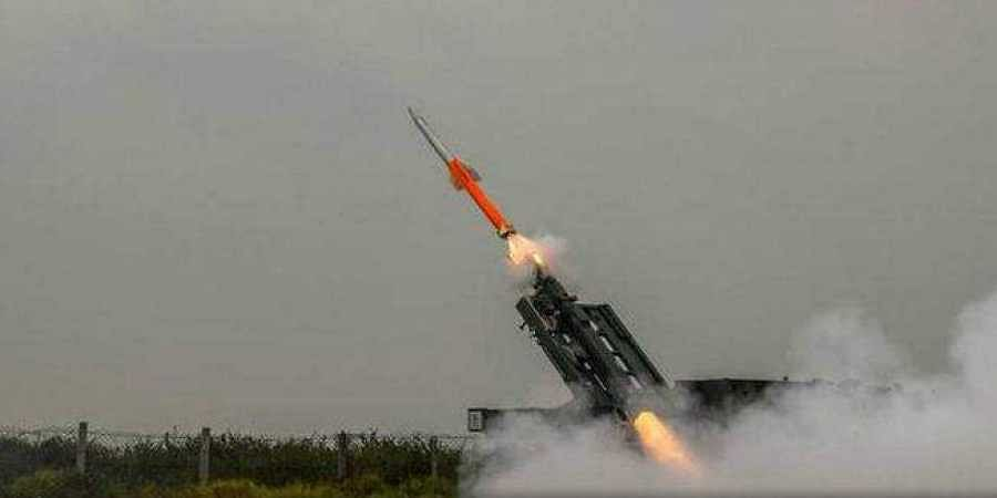 A February 26 photo of the Quick Reaction Surface-to-Air Missile being test-fired from ITR Chandipur in Balasore district of Odisha.