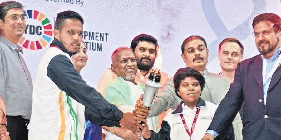 Music maestro Ilaiyaraaja (C) inaugurates the Special Olympics International Football Championship at JN Stadium in Chennai, on Saturday