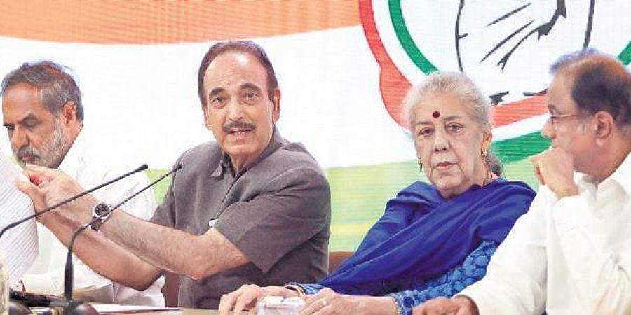 Senior Congress leaders Anand Sharma, Ghulam Nabi Azad, Ambika Soni and P Chidambaram during a press conference at AICC office.