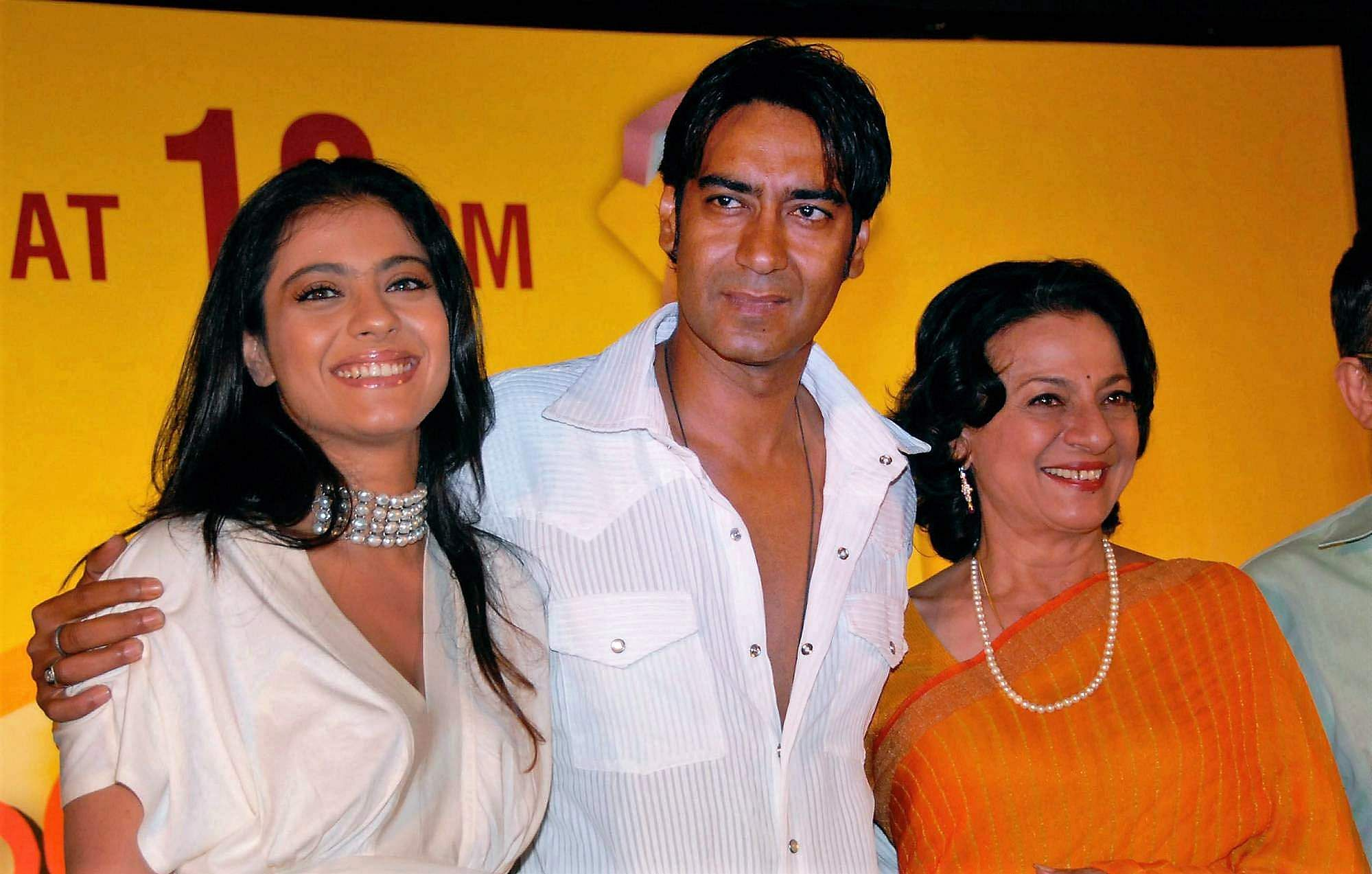 jay Devgan flanked by wife Kajol and mother-in-law Tanuja at the launch of Zee TV dance show Rock N Roll Family at a function in Mumbai.
