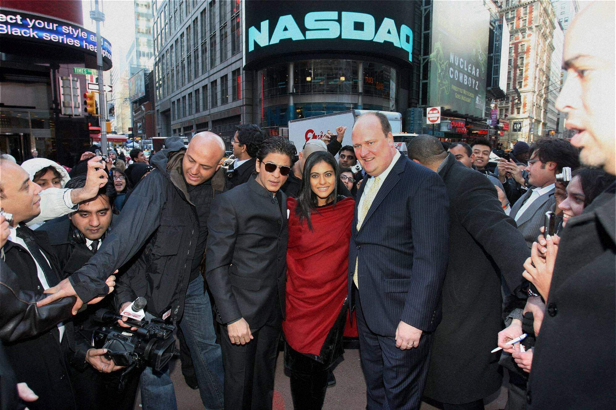 Bollywood actors Shah Rukh Khan and Kajol at NASDAQ on Times Square, New York to promote their latest movie 'My Name Is Khan'.