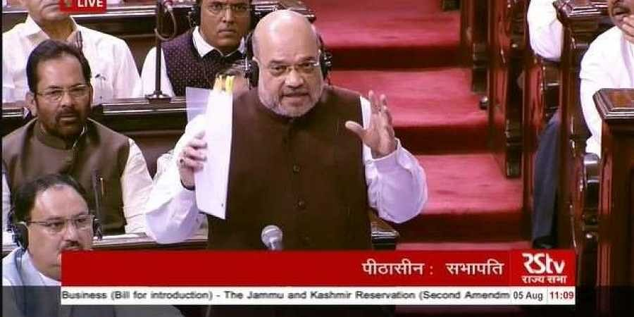 Union home minister Amit Shah in Rajya Sabha on Monday.
