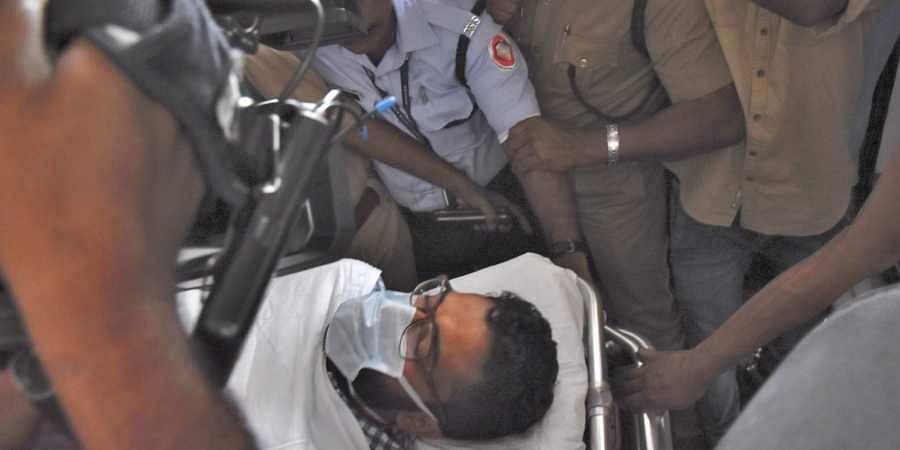Sriram Venkataraman being taken in an ambulance to the district jail