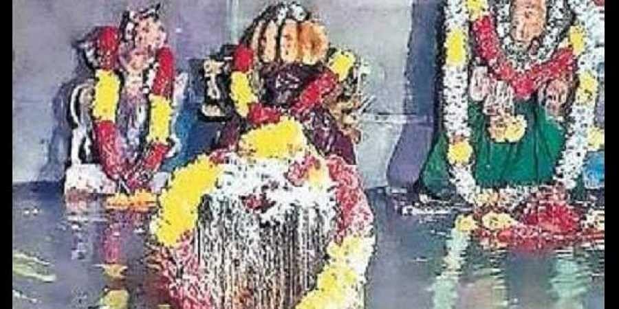 Submerged idols at Sangameswara temple on Sunday