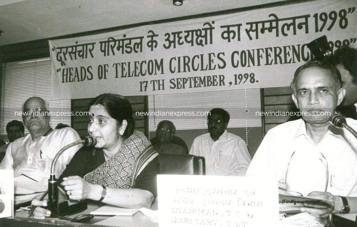 Then Union Minister for Communication, Smt. Sushma Swaraj inaugrated Conference of Heads of Telecom Circles.