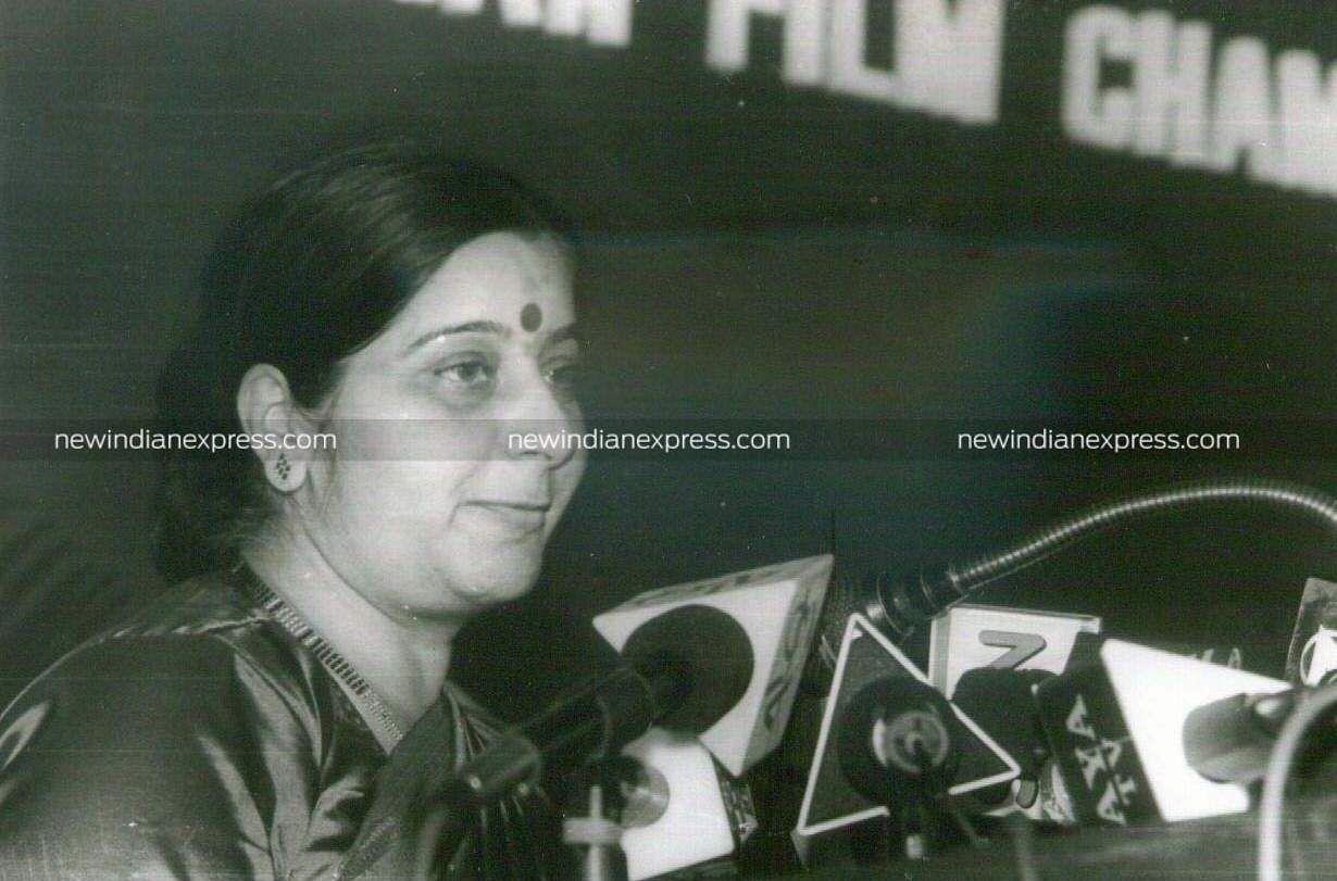 BJPveteran Sushma Swaraj during a Film Chamber function.
