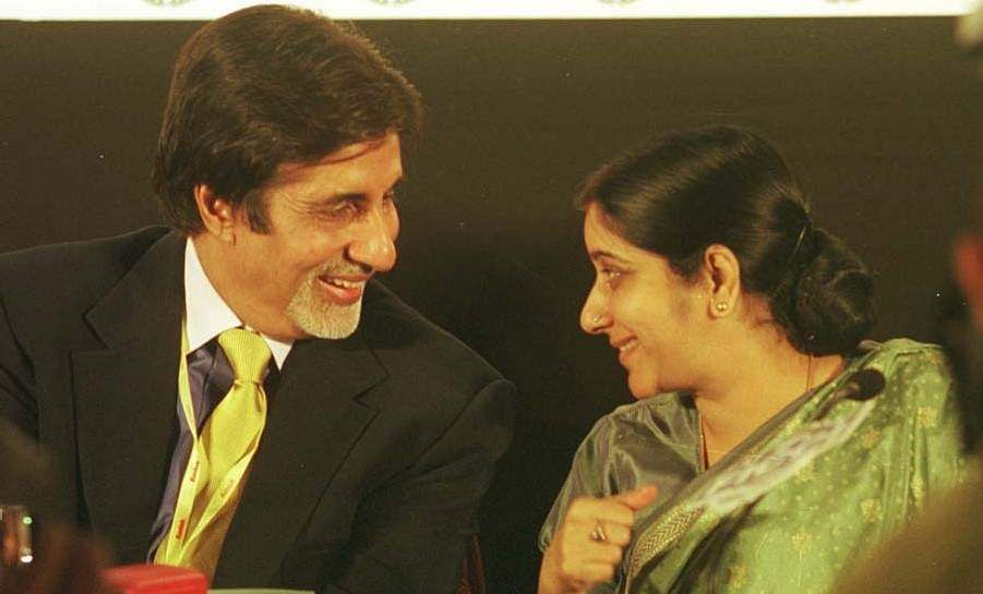 Bollywood star Amitabh Bachchan having a chat with then Union Minister of Information and Broadcasting, Sushma Swaraj at Frames 2001 in Mumbai.
