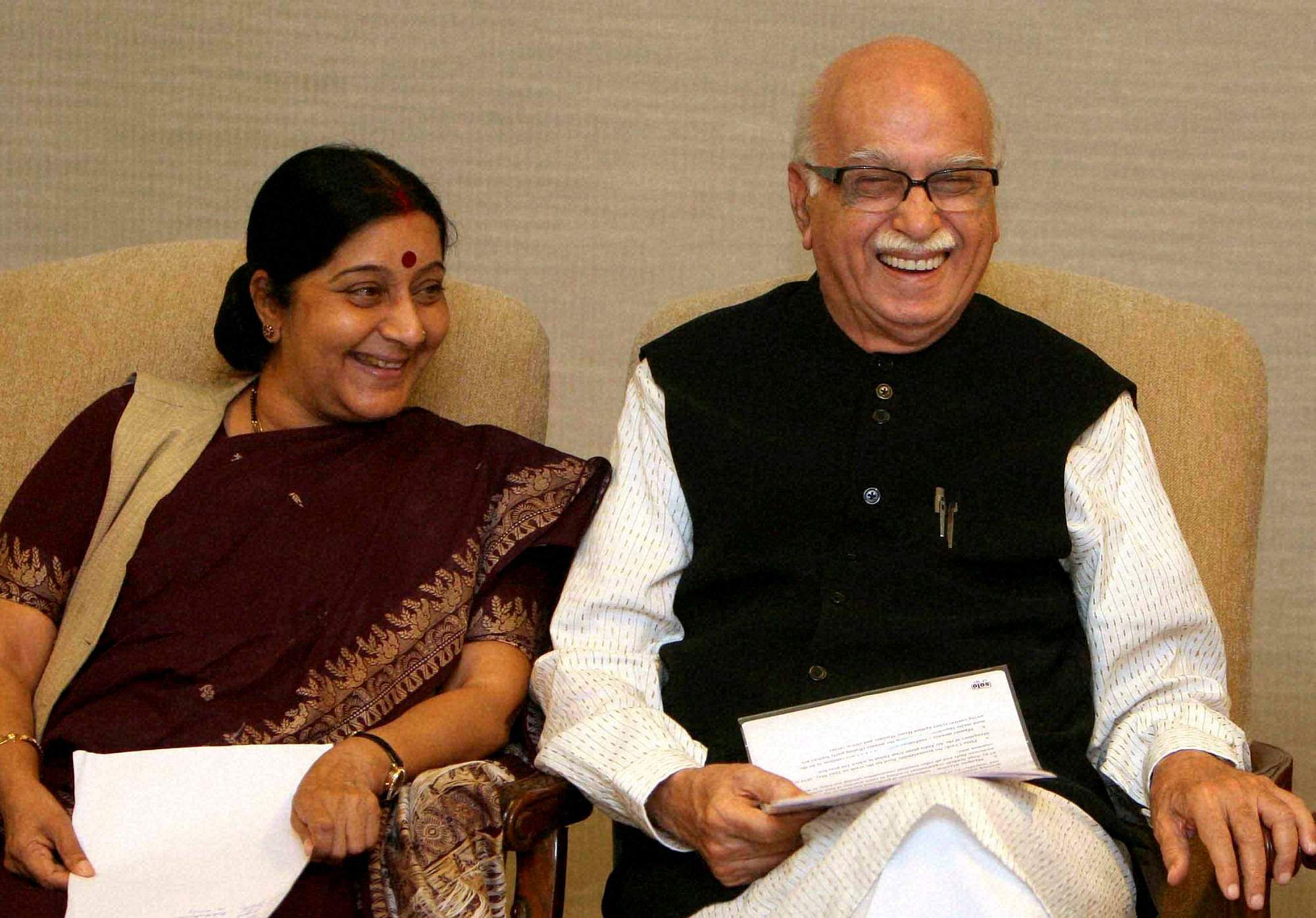 BJP leaders LK Advani and Sushma Swaraj during a Parliamentary Party meeting in New Delhi.
