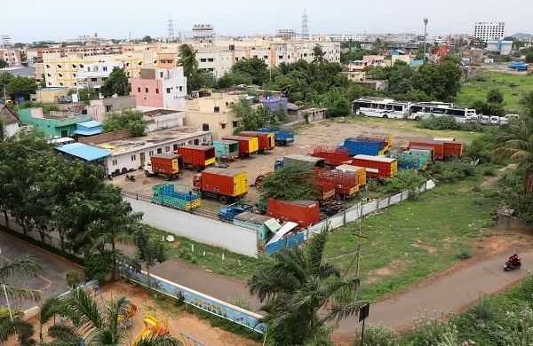 An entire lake replaced by parking lot near Chennai