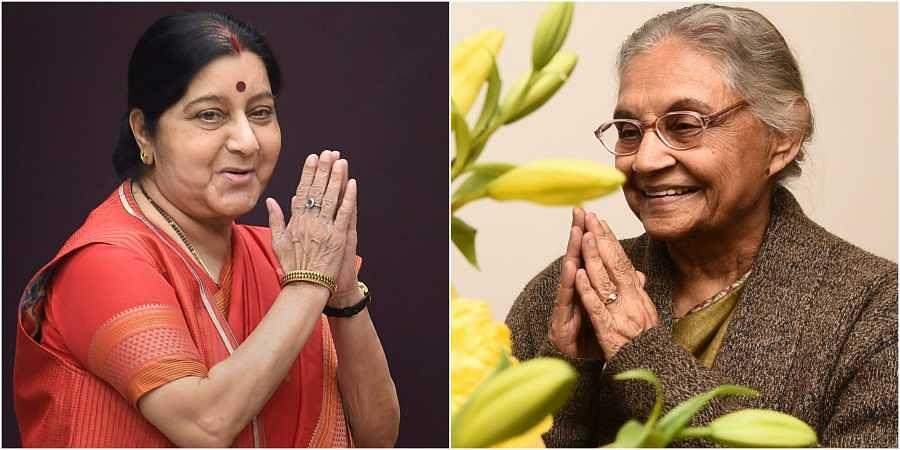 Left: Former External Affairs Minister Sushma Swaraj | Right: Former Delhi Chief Minister Sheila Dikshit