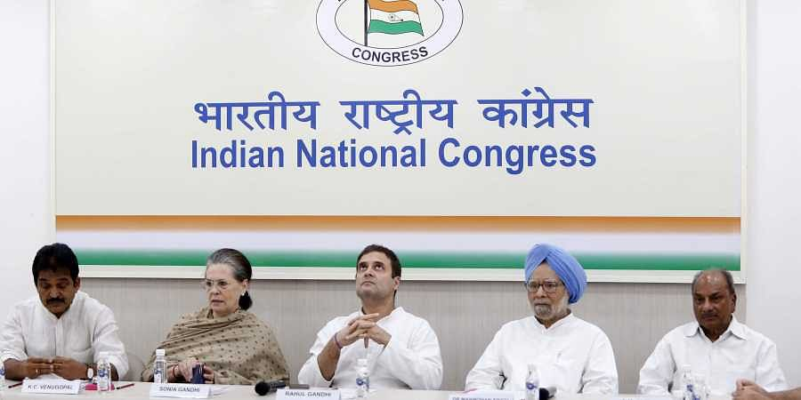 Congress leader Rahul Gandhi with Sonia Gandhi during Congress Working Committee (CWC) meeting at AICC HQ in New Delhi on 6 August 2019. (Photo | Arun Kumar, EPS)