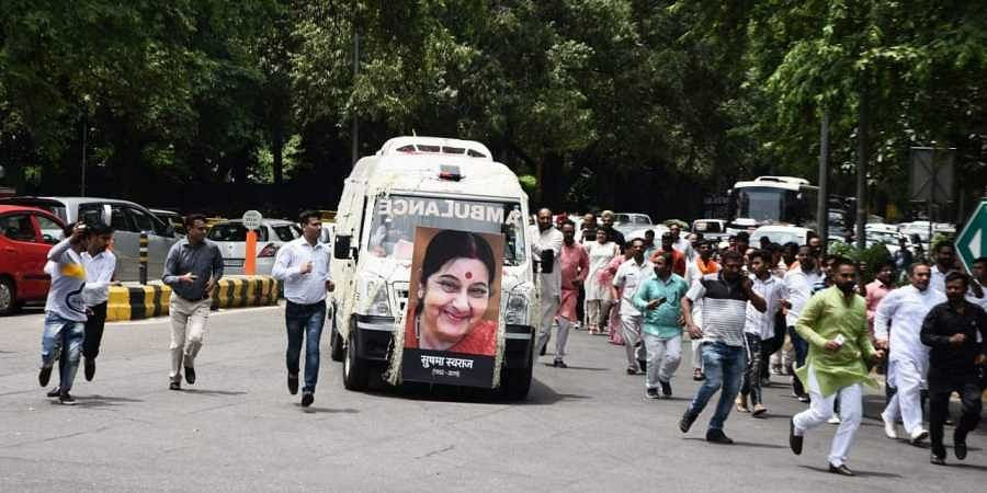 Mortal remains of former External Affairs Minister Sushma Swaraj being taken to BJP headquarters in Delhi