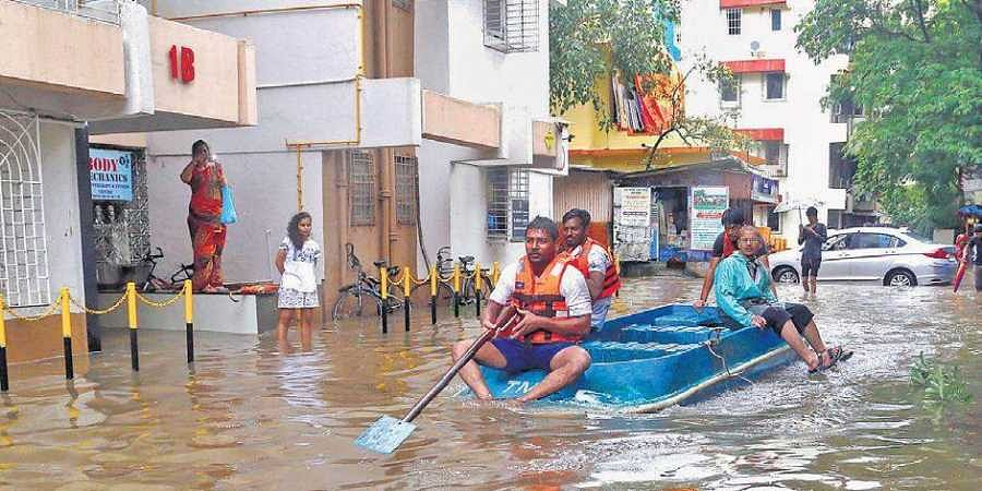 Waterlogged streets following heavy rain in Thane on Saturday. Floods were also reported in Gadchiroli district of Maharashtra.