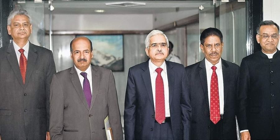 RBI Governor Shaktikanta Das and his deputies arrive for the bi-monthly policy review meeting in Mumbai on Wednesday