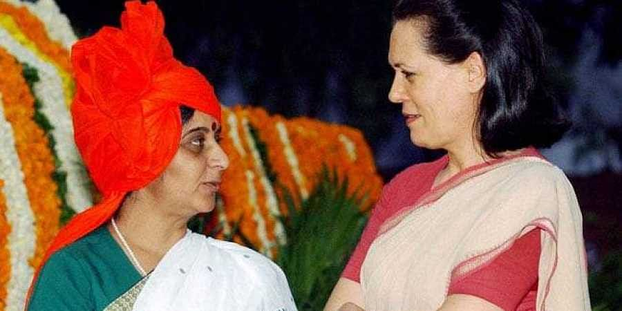Former Union Minister Sushma Swaraj with Congress leader Sonia Gandhi. (Photo | File, PTI)