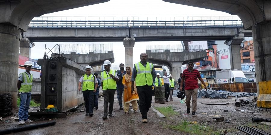 Team of experts from IIT Madras led by B Nageswara Rao at the site of the Vyttila flyover on Wednesday. The ongoing work on the B78-crore flyover has come to a standstill following charges of flaws in construction