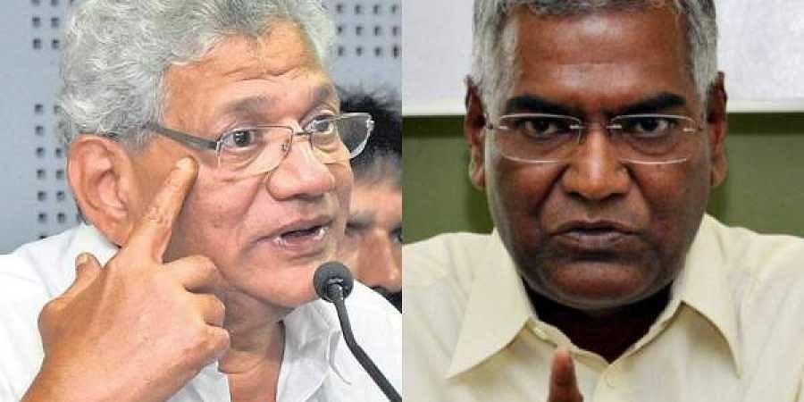 CPM general secretary Sitaram Yechury (L) and CPI leader D Raja