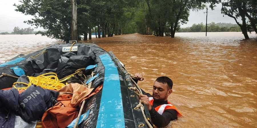 Rescue and relief operations conducted by the Indian Army and Navy in the flood affected districts of Karnataka.
