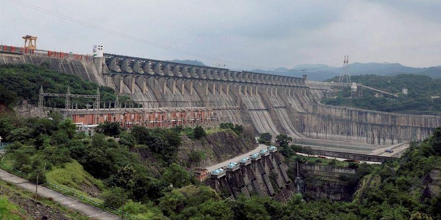 A view of the Sardar Sarovar Dam