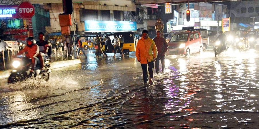 Heavy rain lashed in the city in Visakhapatnam on Saturday evening.