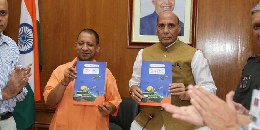 Defence Minister Rajnath Singh and Uttar Pradesh CM Yogi releasing the DefExpo Brochure in Lucknow on September 10. | Express Photo Services