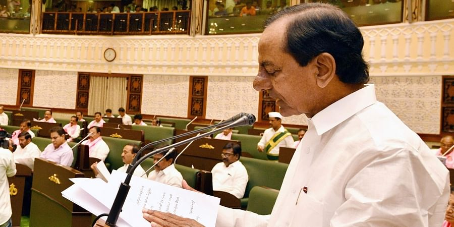 Chief Minister K Chandrasekhar Rao presenting budget for the year 2019-20 during Assembly budget session in Hyderabad on Monday.