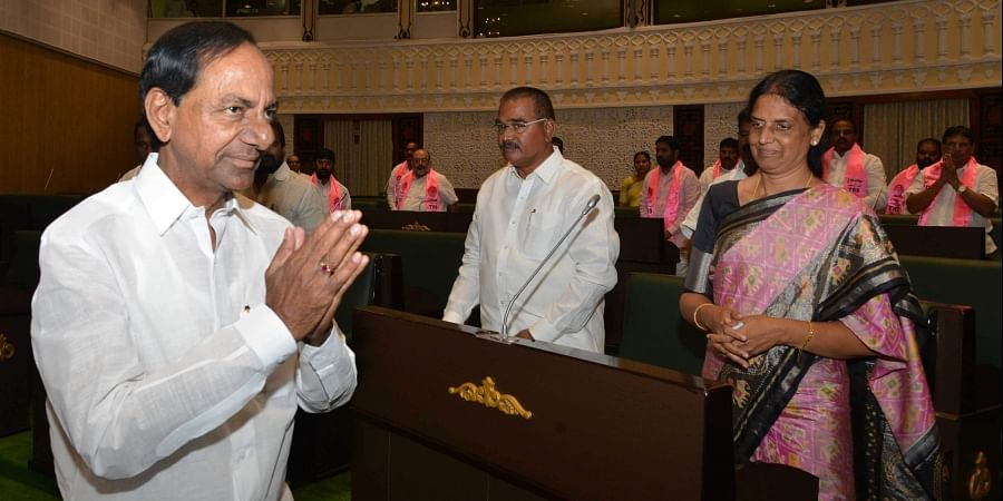 Chief Minister K Chandrasekhar Rao arrives in Assembly to present budget for the year 2019-20 during Assembly budget session in Hyderabad on Monday.