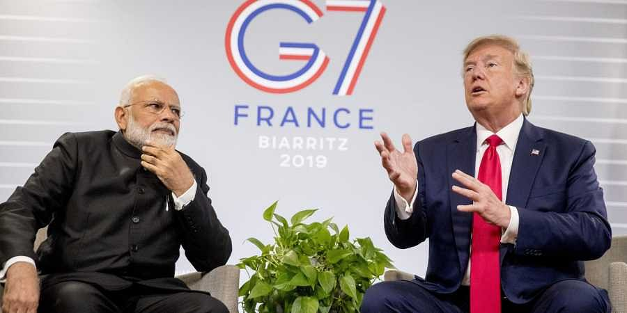 Prime Minister Narendra Modi and President Donald Trump discuss Kashmir during a bilateral meeting at the G-7 summit in Biarritz, France, Monday, Aug. 26, 2019.
