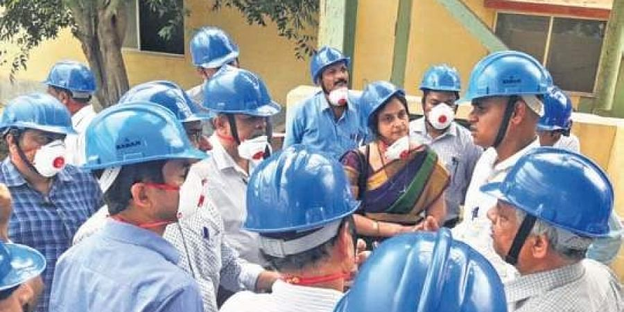 Expert panel members at UCIL's uranium plant in Kadapa on Monday.