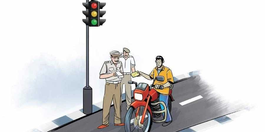 the Koraput district police is keeping a vigil on vehicular movement and the offenders are being offered roses and chocolates and advice to adhere to traffic rules.