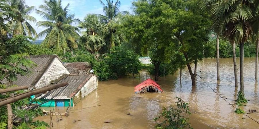 Godavari flood water increased at Devipatnam mandal in East Godavari district on Monday.