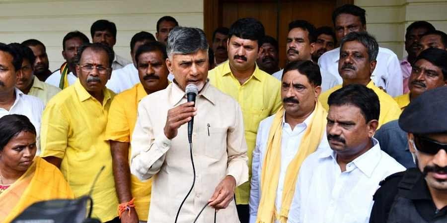 TDP national president Chandrababu Naidu addressing media who was house arrested at Tadepalli near Vijayawada on Wednesday.