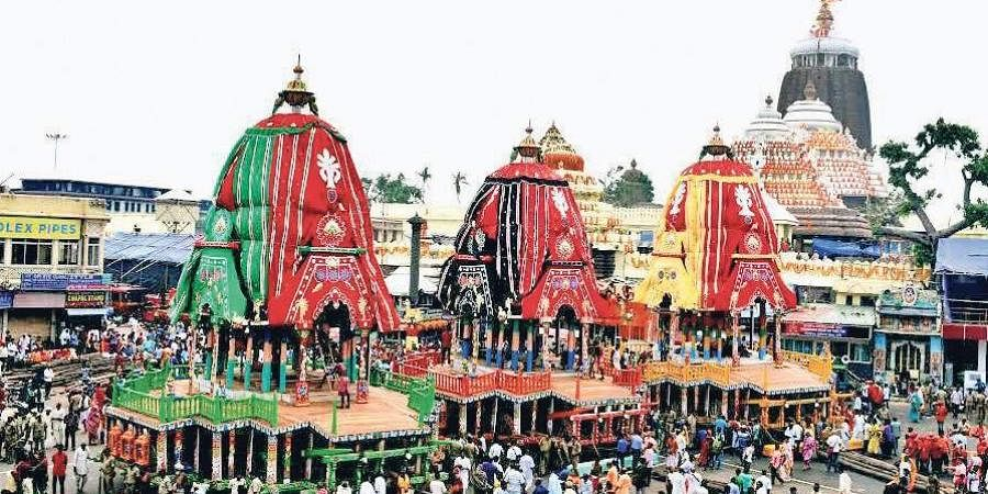 Three chariots kept ready in front of Jagannath temple on Wednesday, Rath Yatra