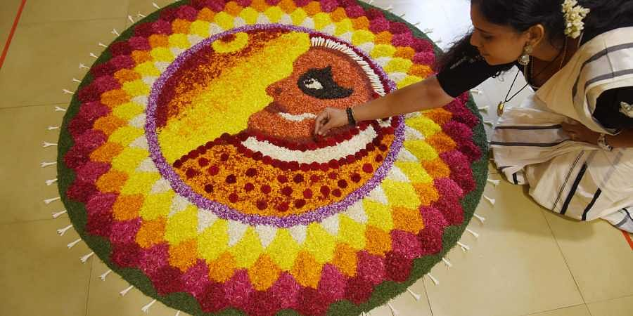 Floral rangoli or pookalam competition held at Malayalee Club for the occasion of Onam in chennai on tuesday.