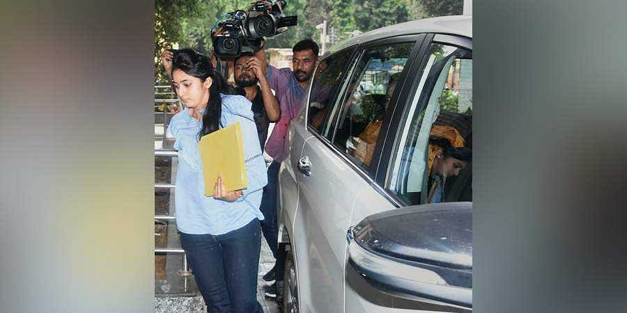 Aishwarya daughter of Congress leader DK Shivakumar arrives to appear before the Enforcement Directorate ED in connection with a money-laundering probe against her father in New Delhi