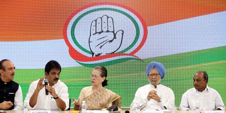 Congress interim president Sonia Gandhi former PM Manmohan Singh Ghulam Nabi Azad AK Antony and KC Venugopal chairs a party meeting to discuss plans for the 150th birth anniversary of Mahatma Gandhi at AICC HQ in New Delhi Thursday September 12 2019. | (Shekhar Yadav | EPS)