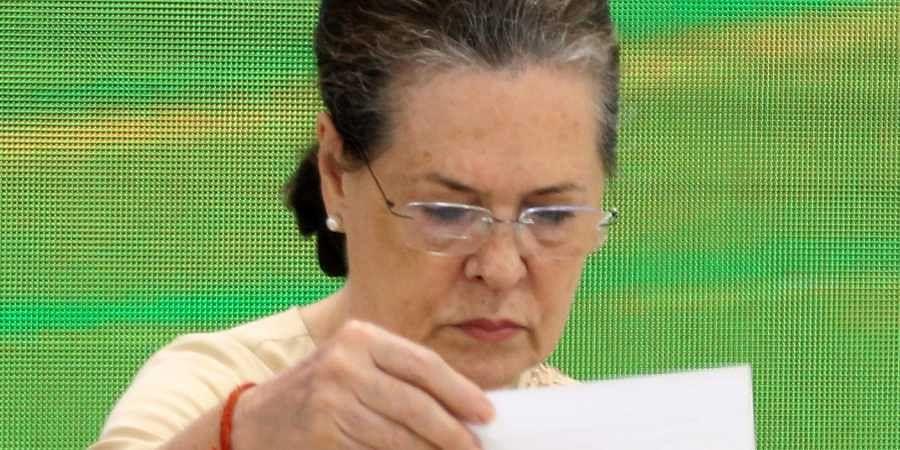 Congress interim president Sonia Gandhi at a party meeting to discuss plans for the 150th birth anniversary of Mahatma Gandhi at AICC HQ in New Delhi on Thursday September 12 2019. | (Shekhar Yadav | EPS)