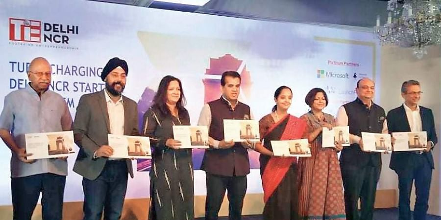 NITI Aayog CEO Amitabh Kant releases the report on energising the start-up ecosystem prepared by TiE Delhi-NCR and Zinnov in New Delhi on Tuesday.