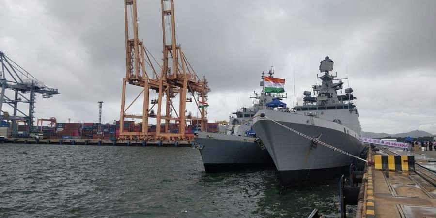 Indian Navy Ships Sahyadri and Kiltan on port call at Laem Chabang, Bangkok from 31 August-03 September 19. (Image | Indian Navy)