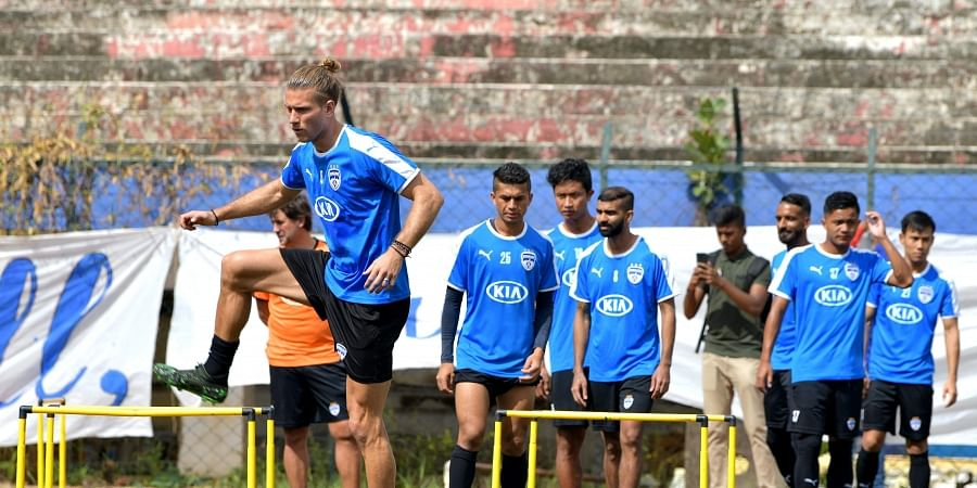 BFC players during a practice session in Bengaluru on Friday.