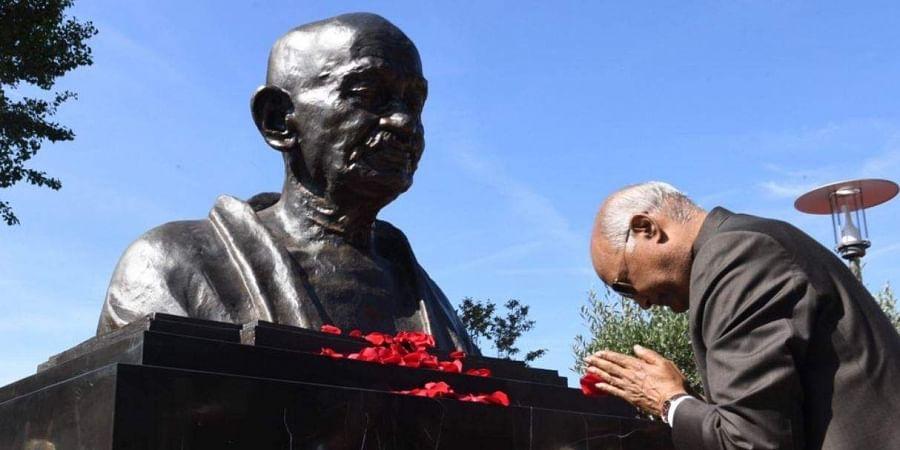 President Ram Nath Kovind unveiled Mahatma Gandhi's bust in Villeneuve, Switzerland.