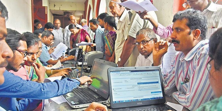People submitting their petitions at the Spandana programme in Vijayawada on Monday