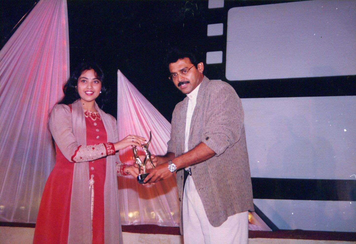 Actress Meena with Tollywood actor Venkatesh.