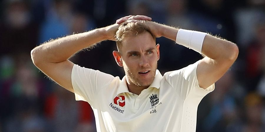 England's Stuart Broad reacts after a delivery during day four of the fourth Ashes Test cricket match between England and Australia. (Photo | AP)