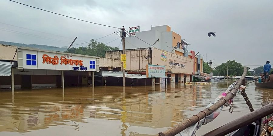 A view of buildings submerged in flood waters following heavy monsoon rainfall in Neemuch district of Madhya Pradesh Sunday September 15 2019. | PTI