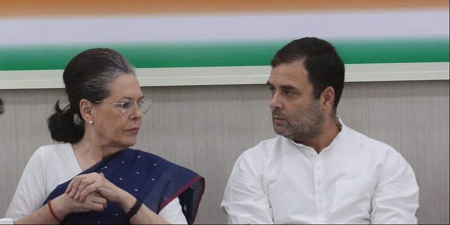UPA Chairperson Sonia Gandhi and Rahul Gandhi during the Congress Working meeting at AICC in New Delhi on Saturday