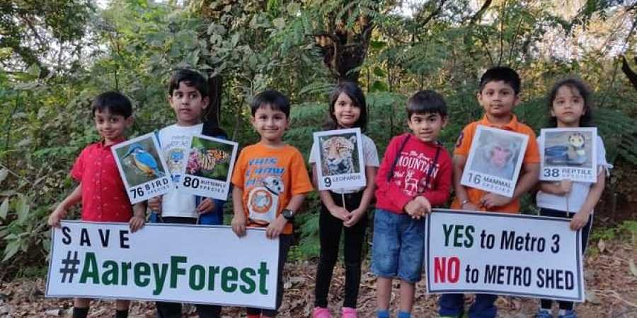 Children protest against the proposed metro project in Mumbai's Aarey Colony which will involve felling of trees. (Photo | Aarey Forest Twitter)